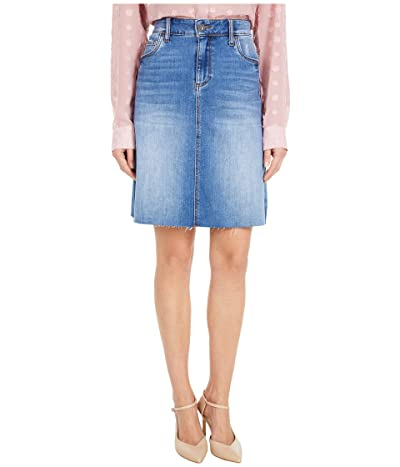 KUT from the Kloth Melinda Five-Pocket Raw Hem Skirt in Explorative (Explorative Wash) Women