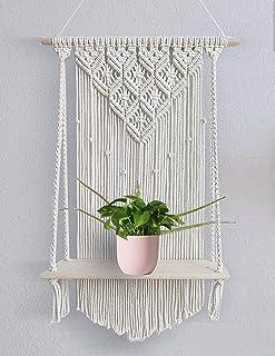 Urooz Macramé Wooden Wall Hanging Shelf  932  Modern Chic Woven Macrame Tapestries, Wall Art Home Decor for Apartment, Dor...