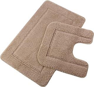 "Pauwer Bath Rug Set 2 Piece Bathroom Contour Rug Combo Non Slip Microfiber Bath Shower Mat and U-Shaped Toilet Rug (21"" x ..."