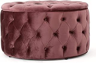 Christopher Knight Home 300777 Living Zuma Aqua New Velvet Ottoman (Blush)