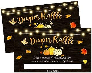 Pumpkin Fall Baby Shower Diaper Raffle Card, Diaper Raffle Ticket, 50 Count