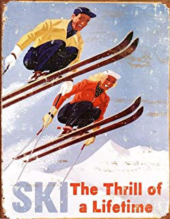 NNHG Tin Sign 8x12 inches Ski Thrill of a Lifetime Skiing Distressed Retro Vintage Tin Sign