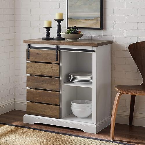 Walker Edison Furniture Company Modern Farmhouse Buffet Sideboard Kitchen Dining Storage Cabinet Living Room, 32 Inch...