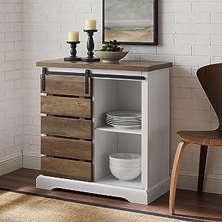 Walker Edison Furniture Company Modern Farmhouse Buffet Sideboard Kitchen Dining Storage Cabinet Living Room, 32 Inch, Rec...