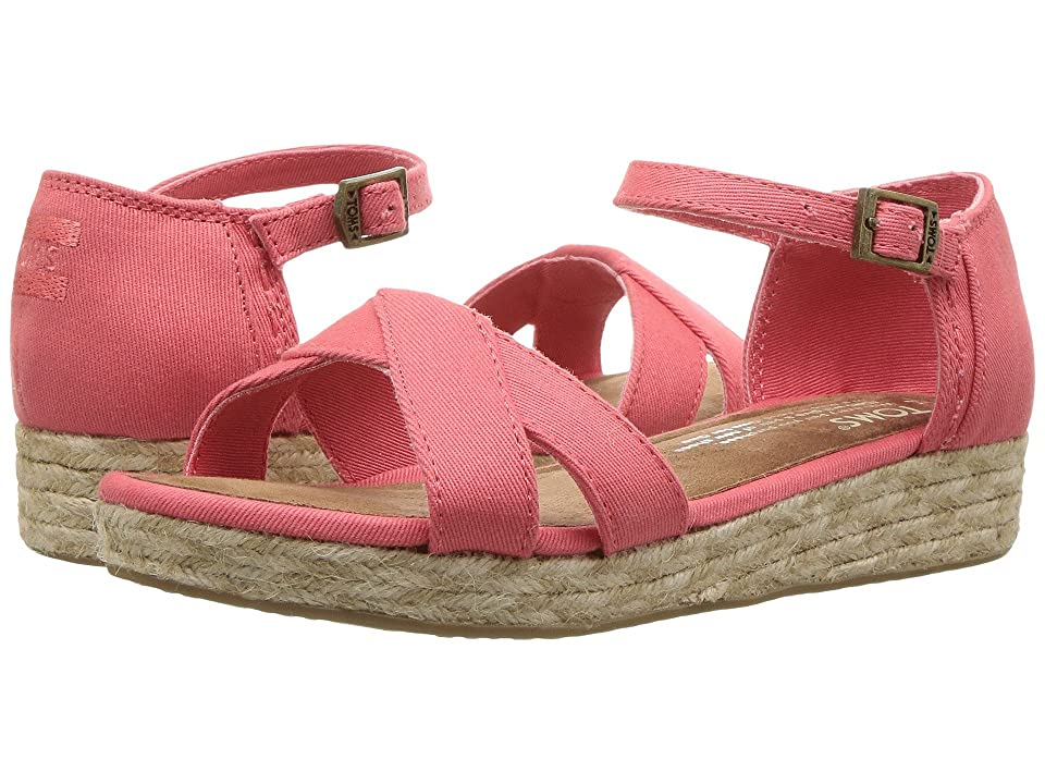 TOMS Kids Harper Wedge (Little Kid/Big Kid) (Coral Cotton Twill) Girls Shoes