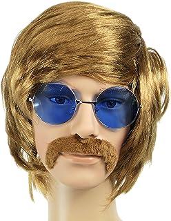 Balinco Conjunto Hippie con Peluca + Gafas de Sol Redondas con Lentes Azules + Bigote en Estilo años 60 y 70 para Hombres ...