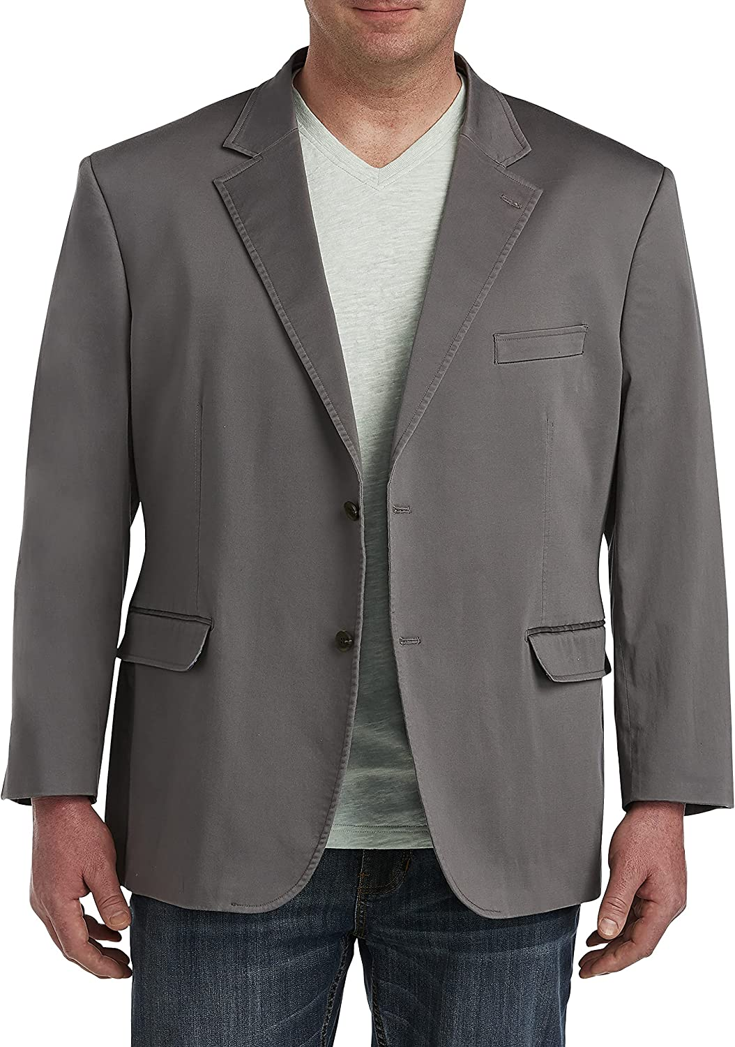 Oak Hill by DXL Big and Tall Cotton Sport Coat, Grey Wash