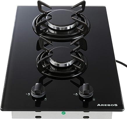 36ae0f760d082 Arebos Table de Cuisson Gaz 2x Brûleurs/Vitrocéramique/Convient au gaz  naturel