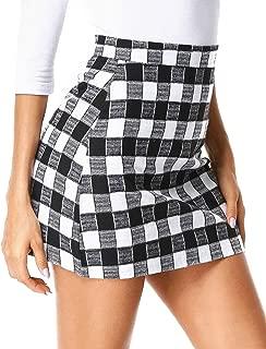 Womens Plaid Mini Skirt High Waist Zipper A-Line Cute Plaid Girls Casual Mini Short Bodycon Skirts