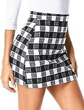 ZEGOLO Womens Plaid Mini Skirt High Waist Zipper A-Line Cute Plaid Girls Casual Mini Short Bodycon Skirts