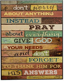 P. Graham Dunn Don't Worry Pray Thank Him for Answers 12 x 16 Distressed Wood Print Overlay Wall Art Sign