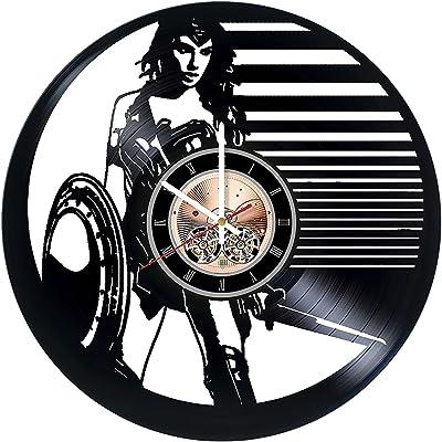DecorByAndrey Wonder Woman DC Comics Vinyl Record Wall Clock - Get Unique Kitchen, Bedroom Wall Art décor - Gift Ideas for Teen, Girl - Unique Comic Art Design Incredible Art