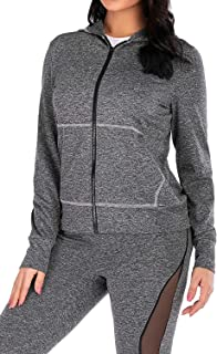 VZULY Women's Full-Zip Hooded Long Sleeve Pockets Workout Running Yoga Jackets Sports Athletic Stretch Sweatshirt M Black ...