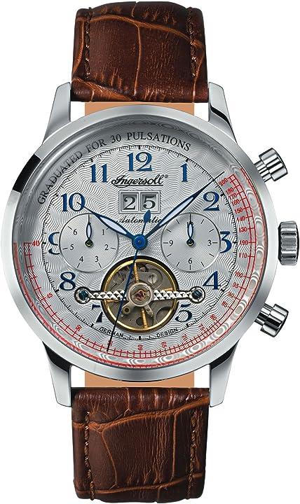 Ingersoll orologio analogico automatico uomo con cinturino in pelle in2002wh