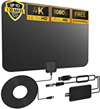 [2021 Upgraded] Amplified HD Digital TV Antenna Long 90-130 Miles Range - Support 4k 1080p HD Free Local Channels & All Ol...