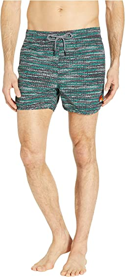 Shorter Length Sporty Swim Shorts with All Over Print