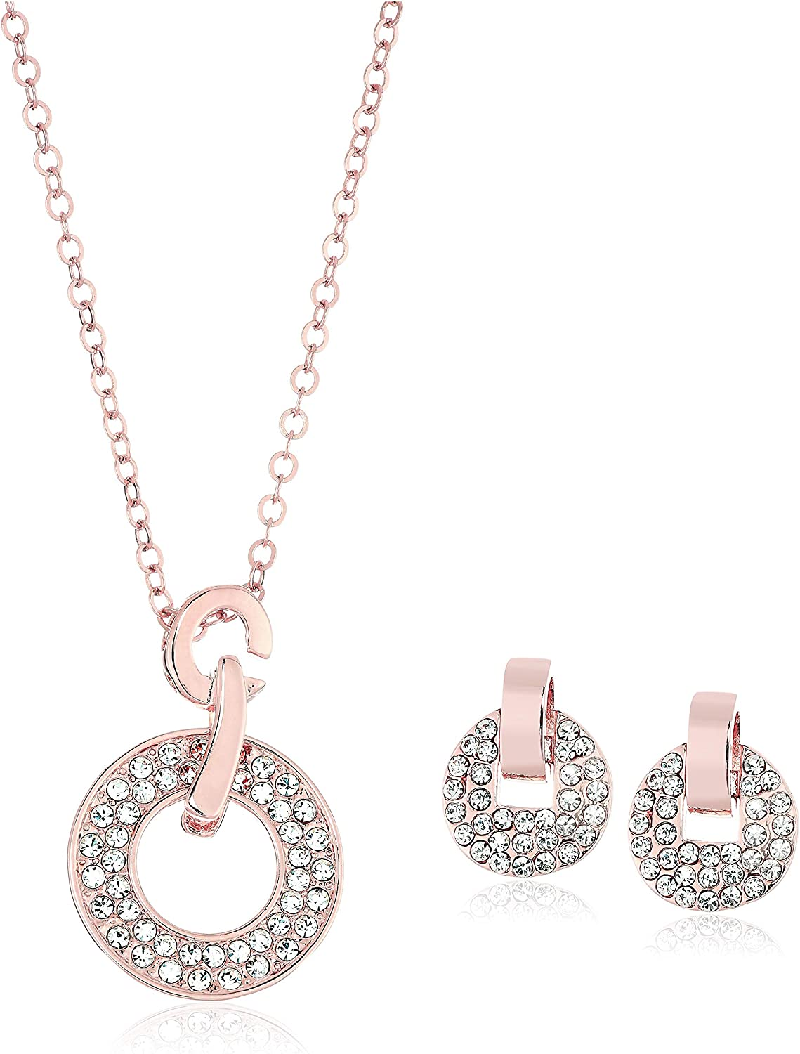 Crystalline Azuria Rose Gold Jewelry: Colorful or White Crystal Necklace and Earrings Set - Costume Jewelry for Women, Wedding Party, Bridal and Bridesmaid Accessories - 18K Rose Gold Plated Pendant and Earring Sets