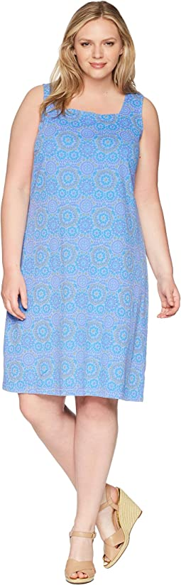 Plus Size Mosaic Shells Square Neck Dress