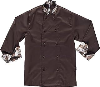 7ae6c765957 Work Team Chaqueta Cocinero con Botones de Seguridad, puños Combinado  Estampado café. Hombre