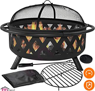 Outdoor Fire Pit Set - Large Bonfire Wood Burning Firepit Bowl - Spark Screen Cover, Fireplace Poker, BBQ Grill Metal Grate, Waterproof Rain Cover - for Outdoor Backyard Terrace Patio (36 Inch)