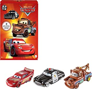 Disney Pixar Cars Radiator Springs Die-Cast Toy Vehicles 3-Pack, 1:55-Scale, With Lightning McQueen, Sheriff & Mater, Gift...