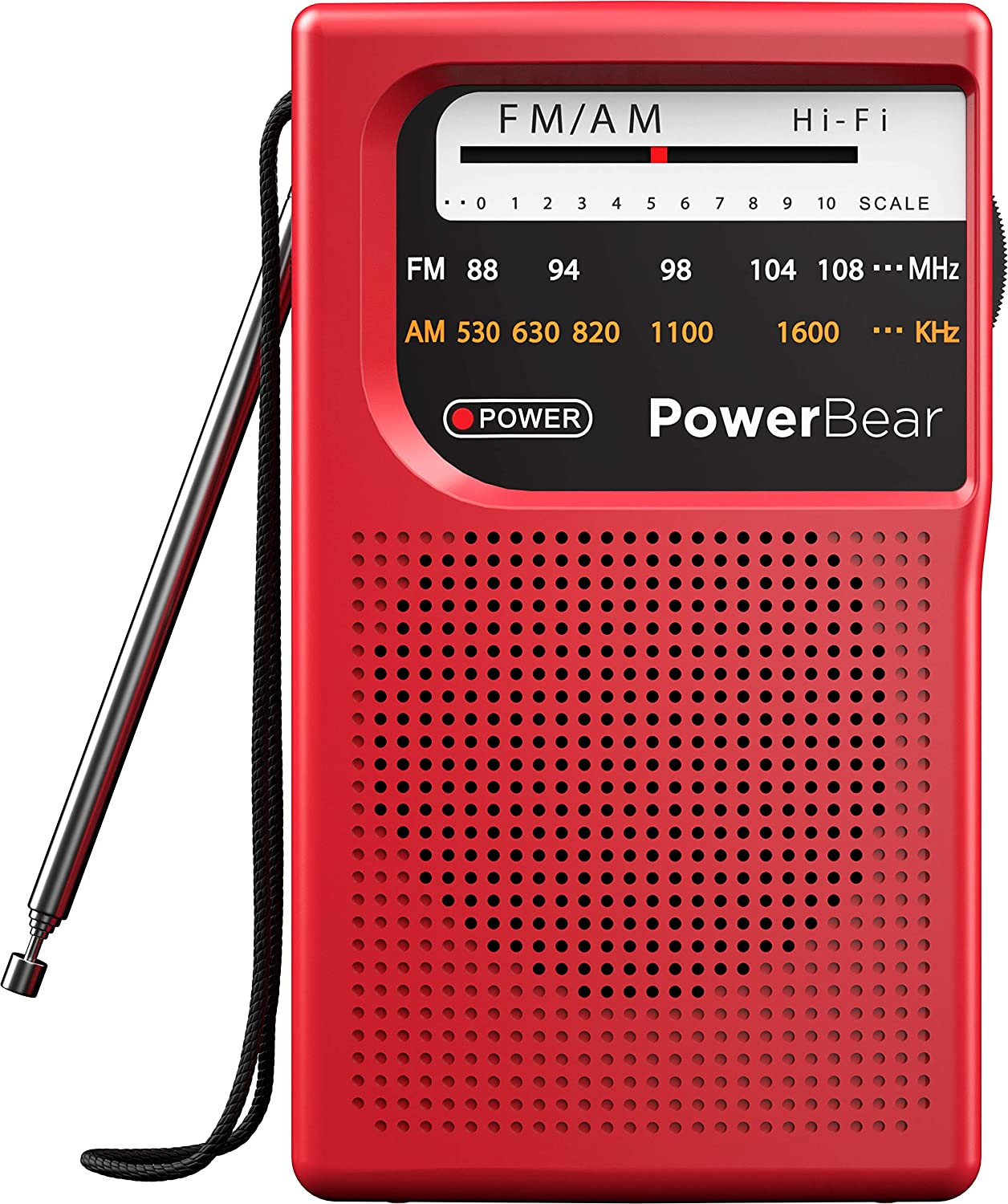 PowerBear Portable Radio   AM/FM, 2AA Battery Operated with Long Range Reception for Indoor, Outdoor & Emergency Use   Radio with Speaker & Headphone Jack (Red)