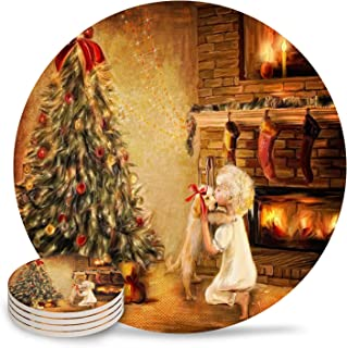 Coasters for Drinks Happy New Year Christmas Tree with Cartoon Bears Candles Girls Kiss Dog Round Drinks Absorbent Stone Coaster Set With Ceramic Stone and Cork Base for Mugs and Cups,6 Pcs Set