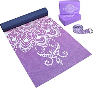 Complete Yoga Mat Gift Set - Unique All-Over Mandala Print - Eco-Friendly, Non-Toxic Yoga Gift Set Kit w/ 6mm Yoga Mat, 2 ...