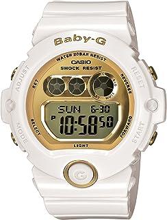 """ساعة رياضية رقمية كبيرة للسيدات من """"كاسيو"""" موديل """"بيبي جي""""، لون ابيض بسوار من البلاستيك المطاطي لون ذهبي - BG6901-7"""