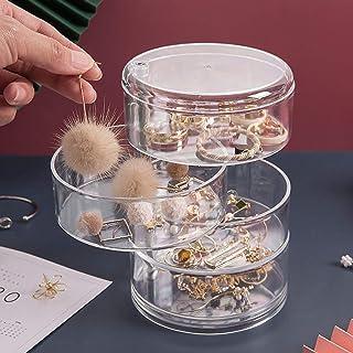 صندوق تخزين لتنظيم المجوهرات قابل للدوران من 4 طبقات، درج تخزين إكسسوارات المجوهرات مع غطاء، حقيبة تخزين أسطوانية صغيرة لل...