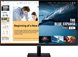 Samsung 32 inch (80.1 cm) M5 Smart Monitor with Netflix, YouTube, Prime Video and Apple TV Streaming (LS32AM500NWXXL, Black)