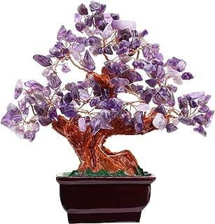 Parma77 Feng Shui Fountain Amethyst Aventurine Rose Quartz Quartz Gem Stone Money Tree 7 Inch Purple Crystal Money Tree for Home Desk Decoration Health Wealth Symble (Amethyst)
