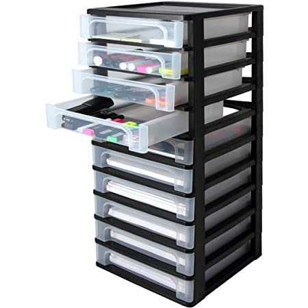 Iris Ohyama 144003 Tour de Rangement 10 tiroirs, Plastique, Noir, 10 x 4 L