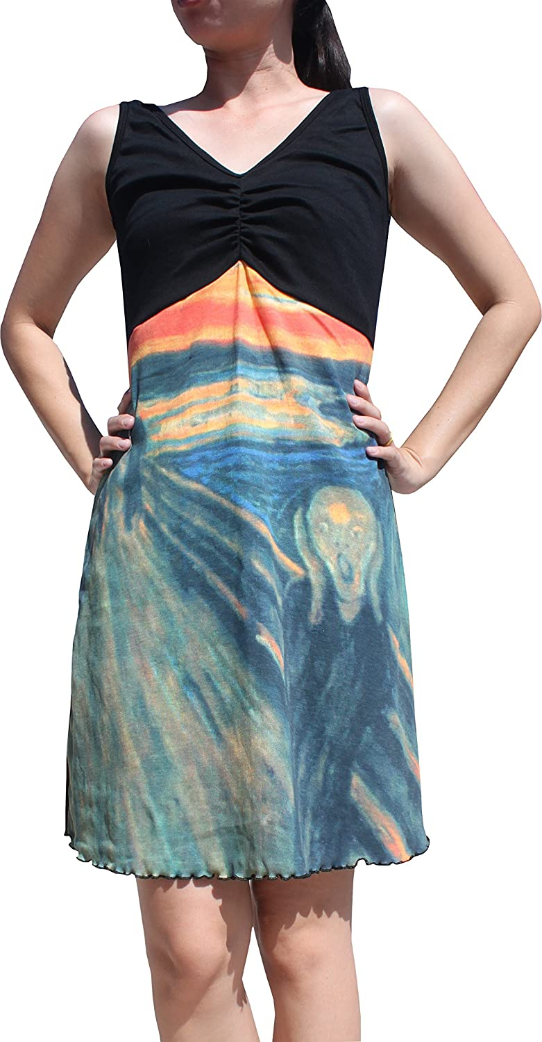 Raan Pah Muang RaanPahMuang The Scream by Munch  Cross Bust Sac Dress