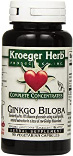 Kroeger Herb Ginkgo Biloba Vegetarian Capsules, 90 Count