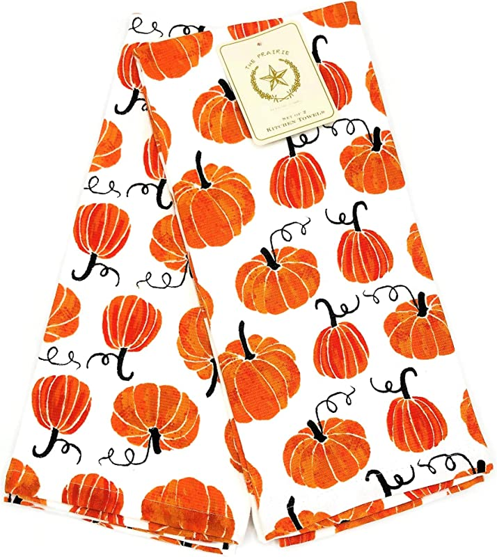 The Prairie Fall Pumpkin Patch Set Of 2 Kitchen Towels Soft Absorbent Cotton Dishtowels Decorative Autumn Fall Theme Great For Holiday Baking Cooking Thanksgiving Drying Dishes