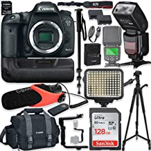 Canon EOS 7D Mark II DSLR Camera Body (Wi-Fi) Kit with Pro Photo & Video Accessories Including 128GB Memory, Speedlight TTL Flash, Battery Grip, LED Light, Condenser Micorphone, 60