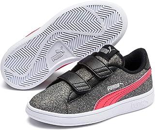 PUMA PUMA Smash V2 Glitz Glam V PS Kids Sneakers, PUMA Black-Calypso Coral, 3 US
