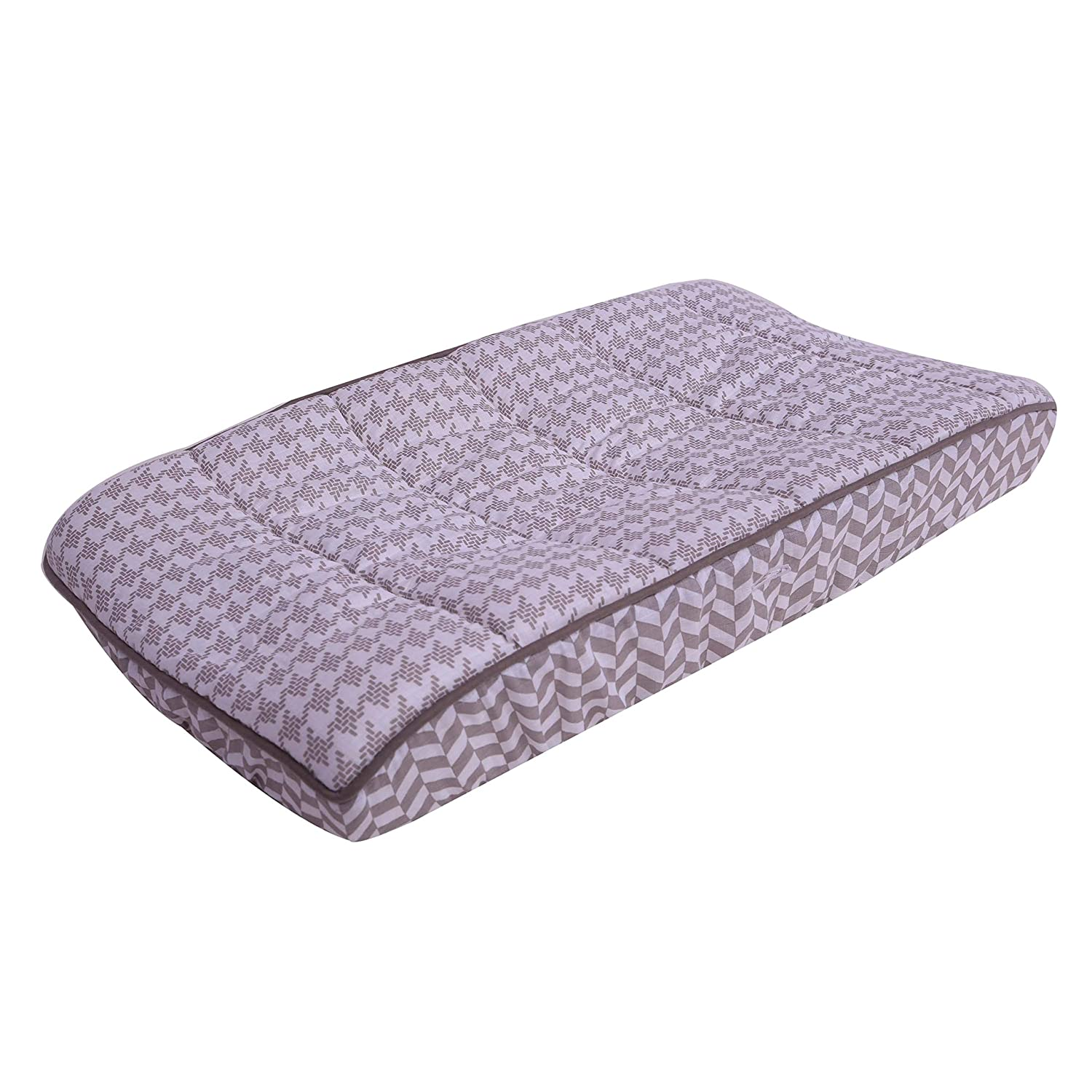 Bacati Houndstooth Muslin Quilted Diaper Changing Pad Cover 100 Cotton Shell with Polyester Batting, Grey