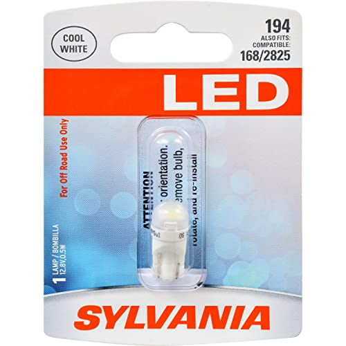 SYLVANIA 194 T10 W5W White LED Bulb, (Contains 1 Bulb)