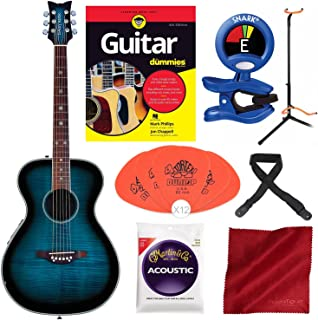 Daisy Rock DR6221-A-U Pixie Acoustic/Electric Guitar Blueberry Burst with Guitar for Dummies Starter Pack, Guitar Stand, Tuner, Pick, and Deluxe Bundle