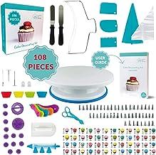 108 Pcs Cake Decorating KIT | Non-Slip Turntable | Leveler 2-Wire | 48 Numbered Icing..