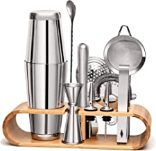 11 Pieces Mixology Bartender Kit by Mixologic: 304 Stainless Steel Boston Cocktail Shaker Bar Set With Sleek Bamboo Stand...