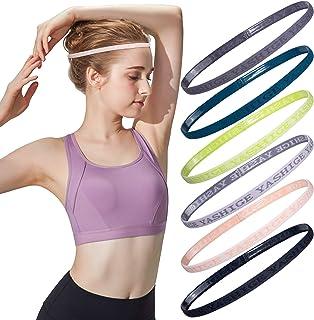Sweaty No Slip Workout Headband Skinny Mini Athletic Sports Hairband Elastic Thin Head Bands with Silicone for Women Men K...