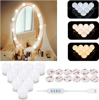 Luces de Espejo Maquillaje,Aourow Diseño de Cable USB Luz de Tocador LED con Interruptor y 10 Bombillas Regulables,3 Modos de Color y 10 Brillo (Sin Espejo y Cargador USB)