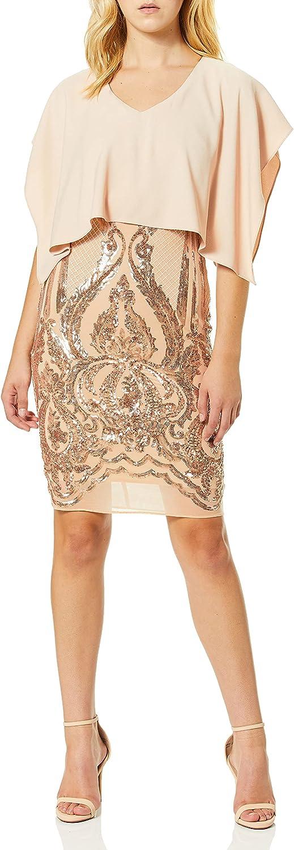 Betsy & Adam Women's Short Overlay Sequin Dress