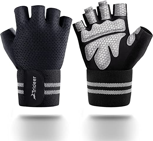 TriDeer Workout Weight Lifting Gloves for Women Men with Wrist Straps, Breathable Fingerless Gym Exercise Gloves with Grip, Full Palm Protection, for Weight Training, Pull Up, Gym Fitness, Home Work Out