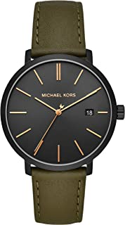 Michael Kors Men`s Blake Stainless Steel Quartz Watch with Leather Strap