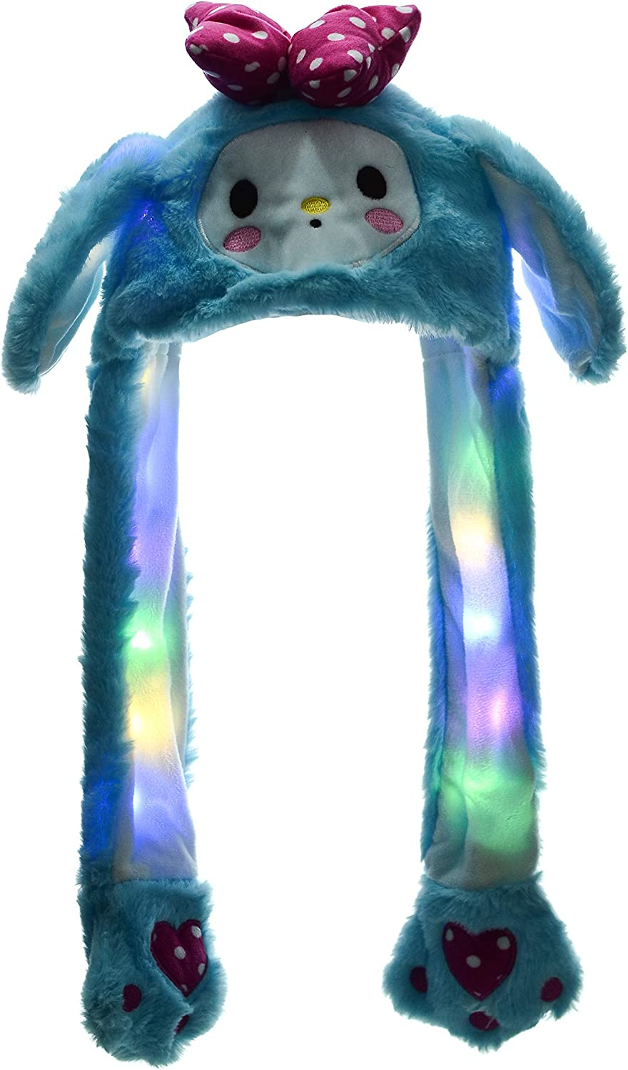 Led Glowing Plush Moving Hat Dancing Ears Pinching Ear to Move Vertically Cartoon Animal Toys Hat
