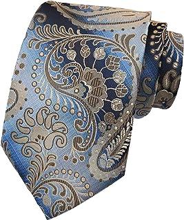 Men's Novelty Tie Cravat Luxury Paisley Plaid Pattern Wedding Necktie by Elfeves